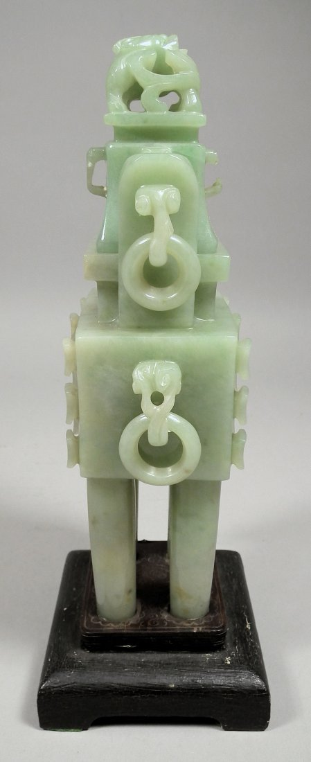 713: A Chinese green jadeite rectangular two-handled in - 4
