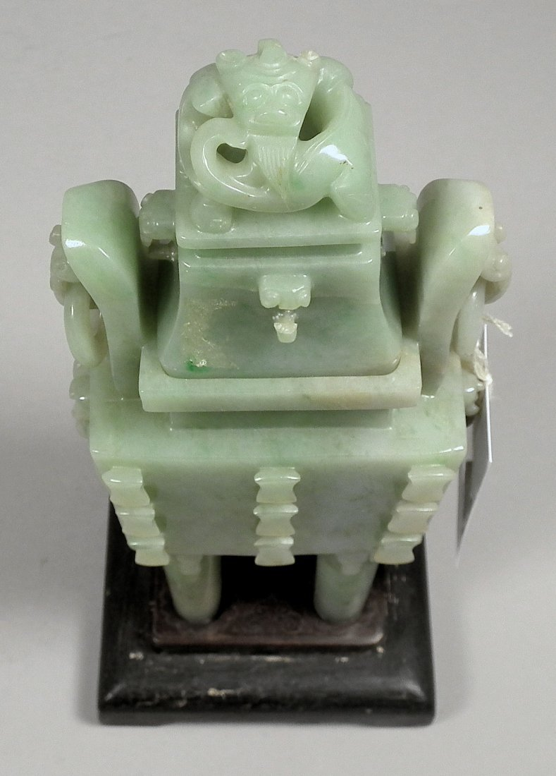 713: A Chinese green jadeite rectangular two-handled in - 5