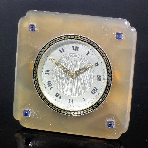 930: A 1920s Cartier agate square cased desk timepiece,