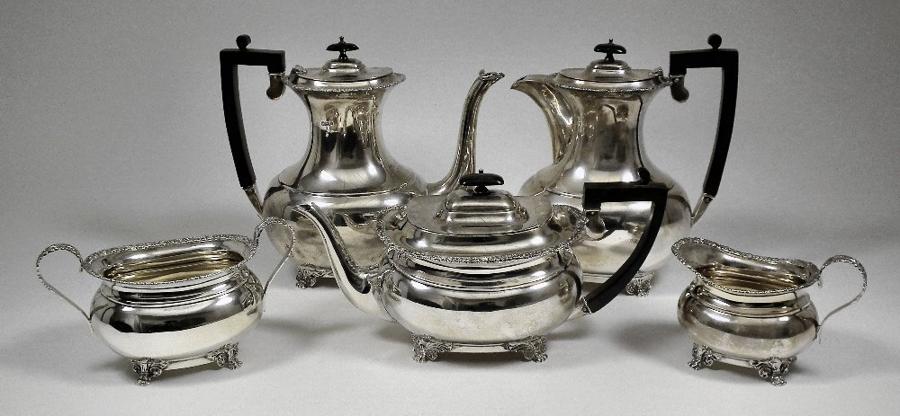 An Edward VII and George V silver five piece tea and co