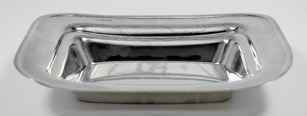 A George VI silver rectangular dish with concave centre