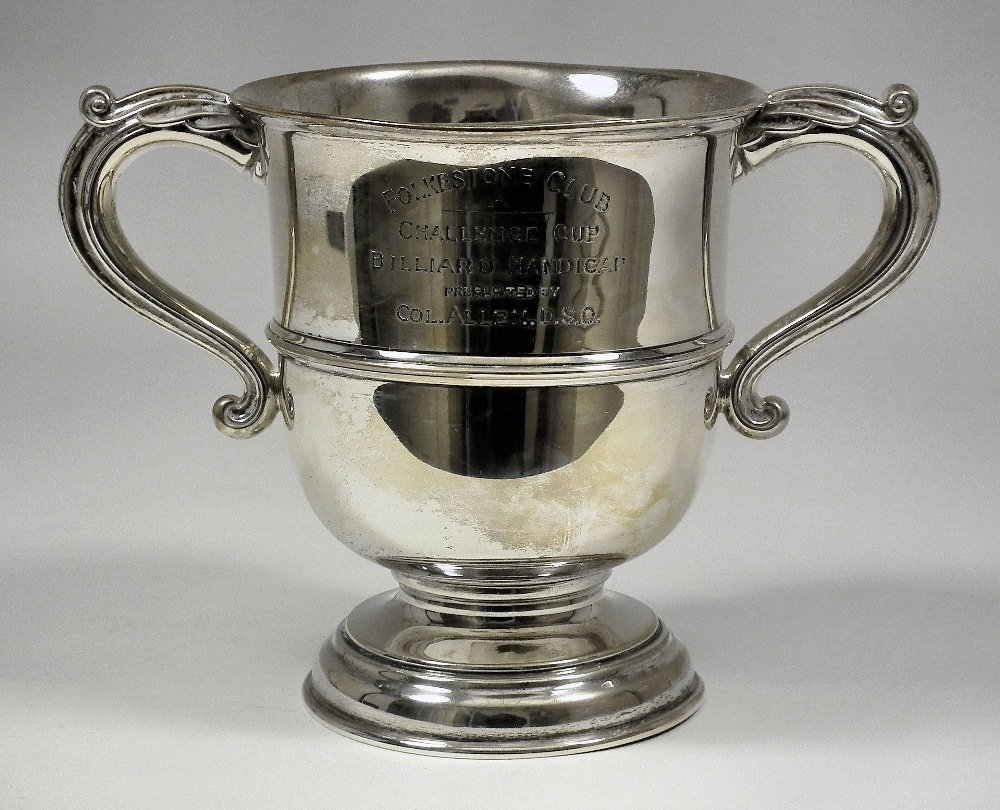 A George V silver two-handled prize cup with plain gird