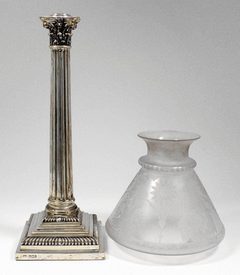 A late Victorian silver oil lamp base of Corinthian col