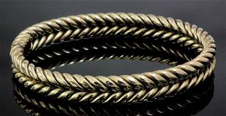 A late Victorian gold coloured metal double rope twist