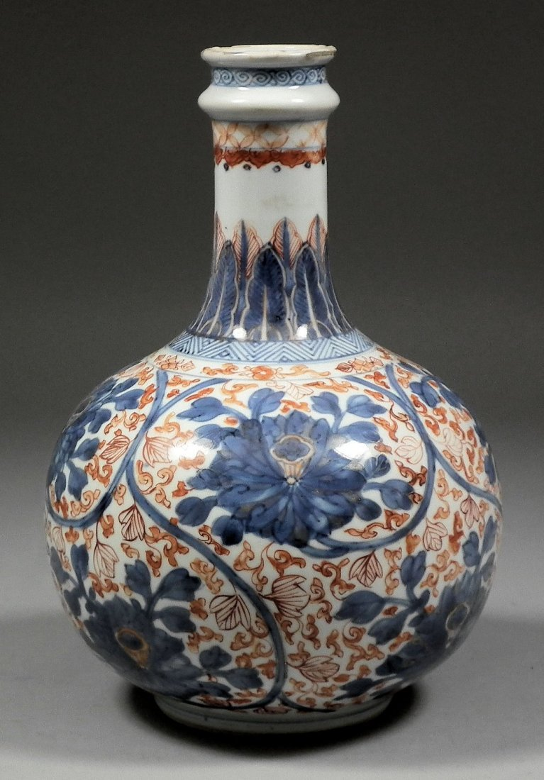 A Chinese porcelain bulbous vase, with cylindrical neck