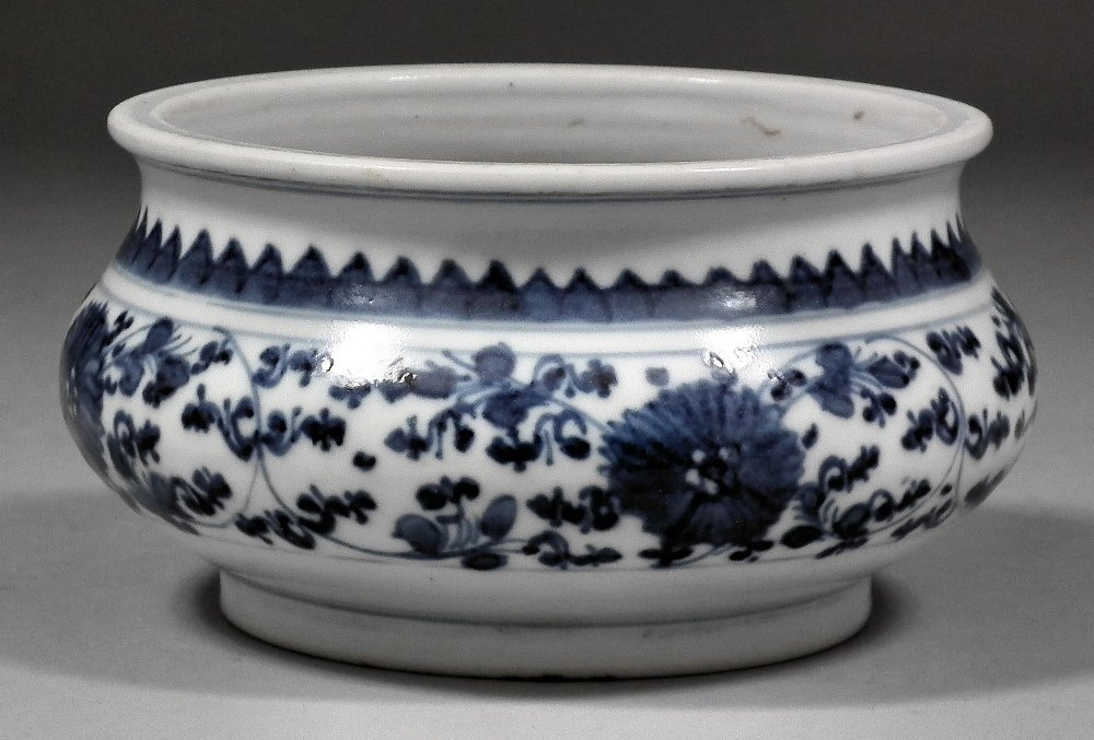 A Chinese blue and white porcelain censer, painted with