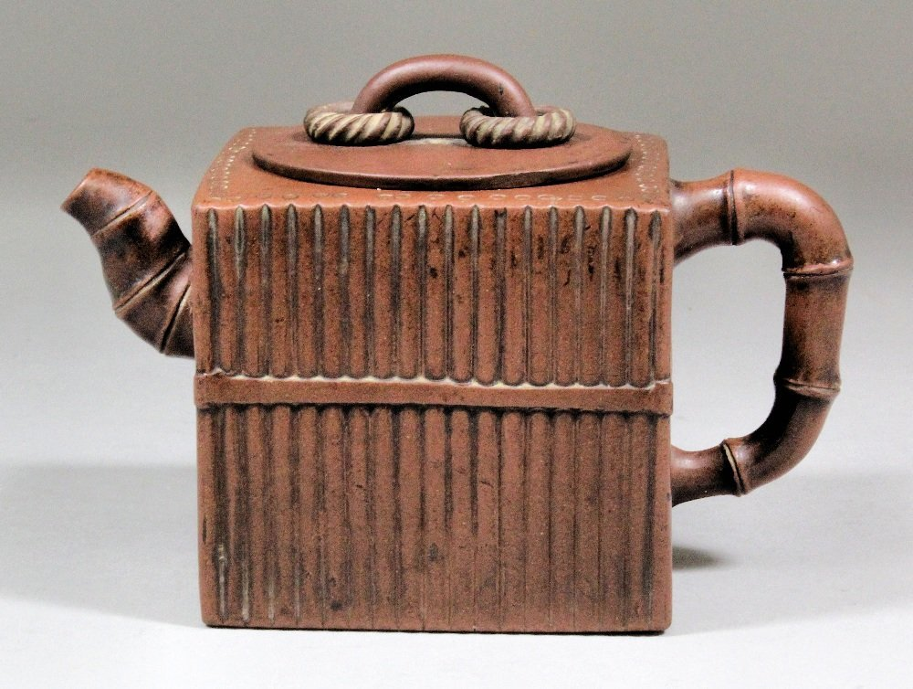 Chinese Yxing stoneware square teapot, with reeded bamb