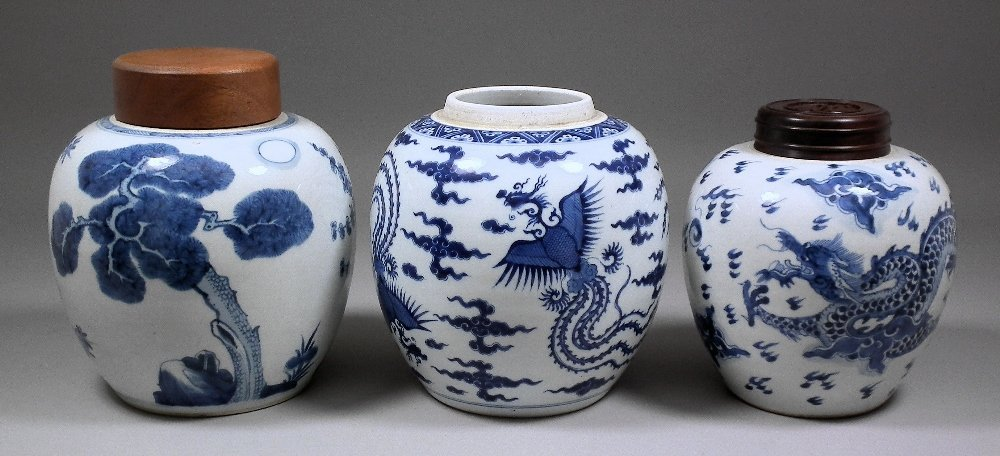 A Chinese blue and white porcelain ginger jar, with woo