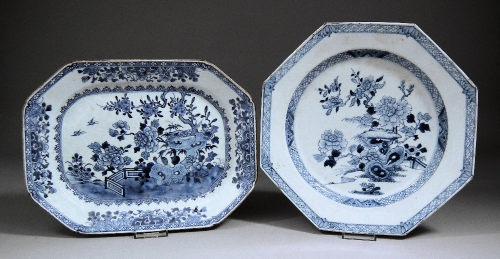 A Chinese blue and white porcelain octagonal plate deco