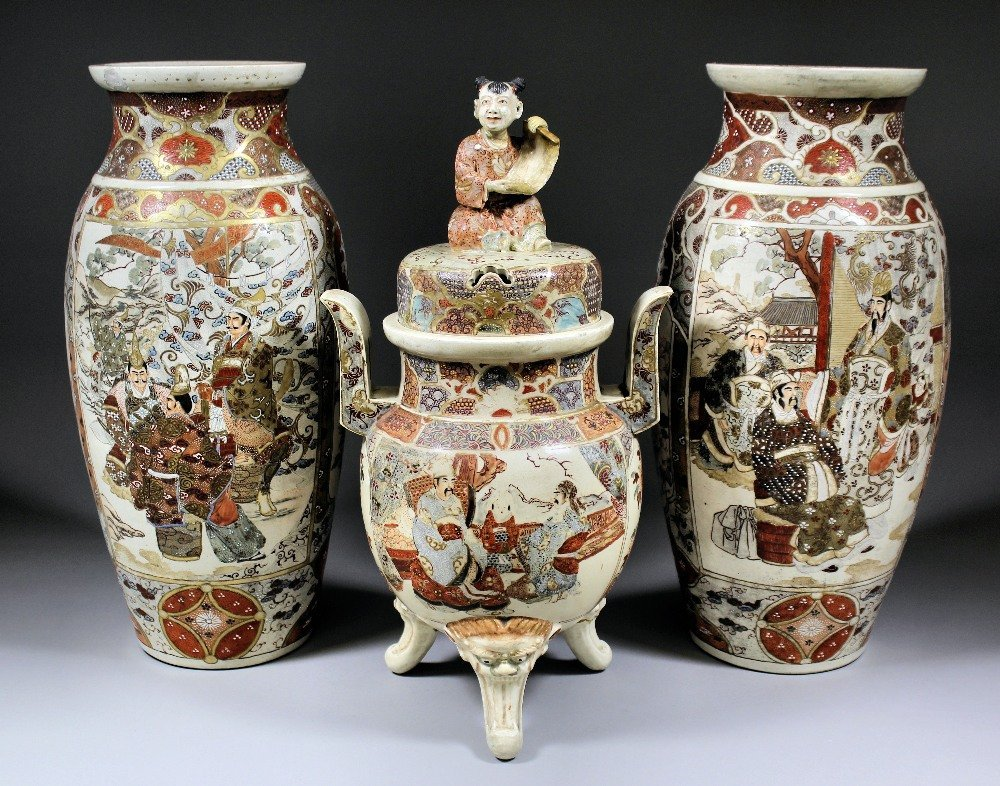 """Two Japanese """"Satsuma"""" pottery vases painted with peopl"""