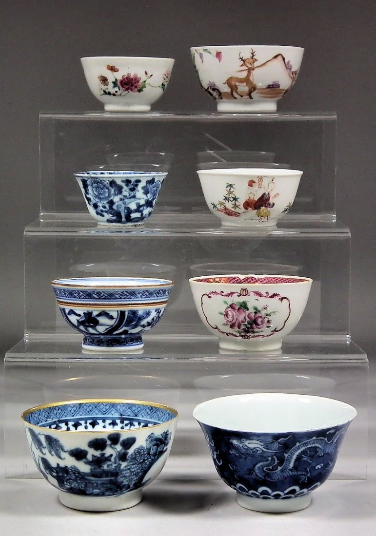 A small collection of Oriental porcelain tea bowls (Qia