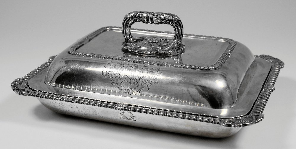 A George III silver rectangular entree dish and cover w