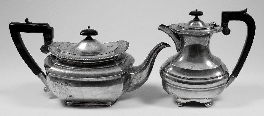 An Edward VII silver rectangular teapot with gadroon mo