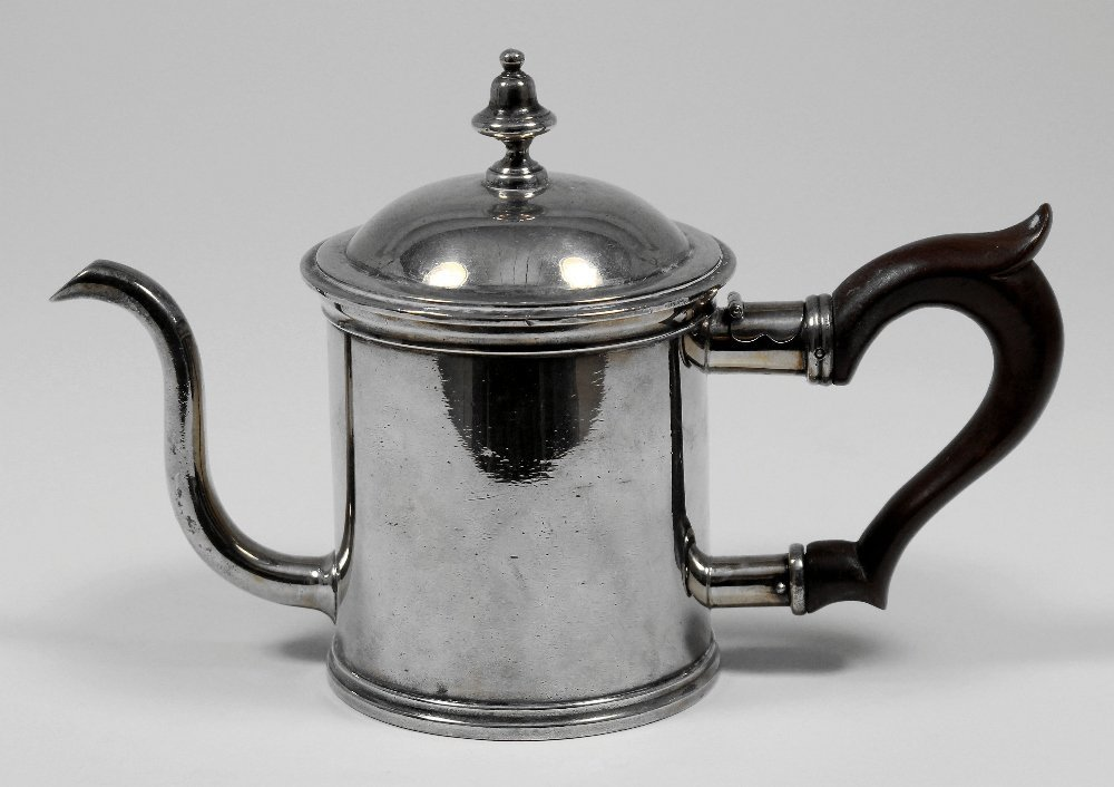 A George V silver cylindrical hot water pot with double