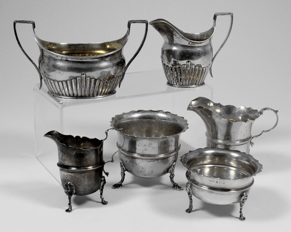 A late Victorian silver two piece part tea service with