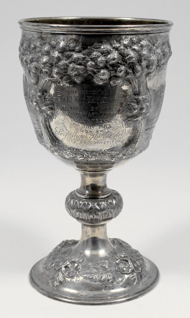 """A Victorian silver presentation cup, to """"The First Brig"""