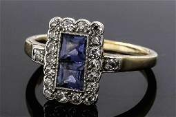 An Edwardian gold coloured metal mounted sapphire and d