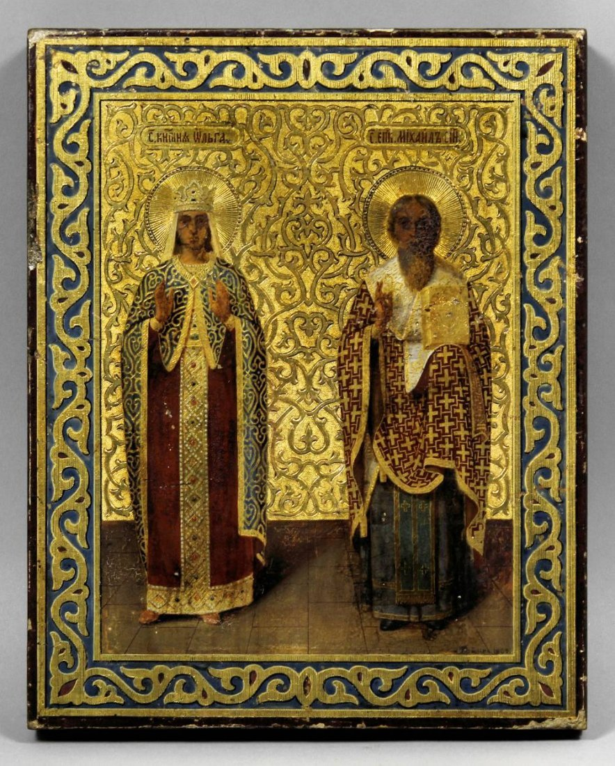 """A 19th Century Russian icon of """"Holy Princess Olga"""" and"""