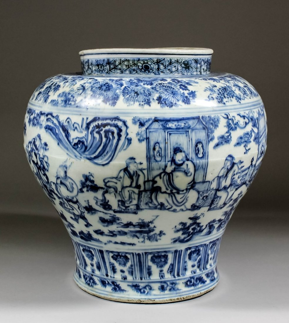 A rare Chinese blue and white porcelain 'windswept' jar