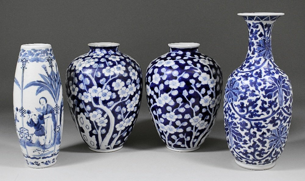 A pair of Chinese blue and white porcelain vases painte