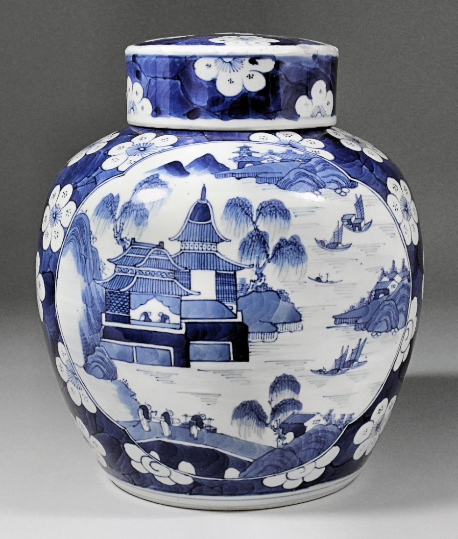 A Chinese blue and white porcelain ginger jar and cover