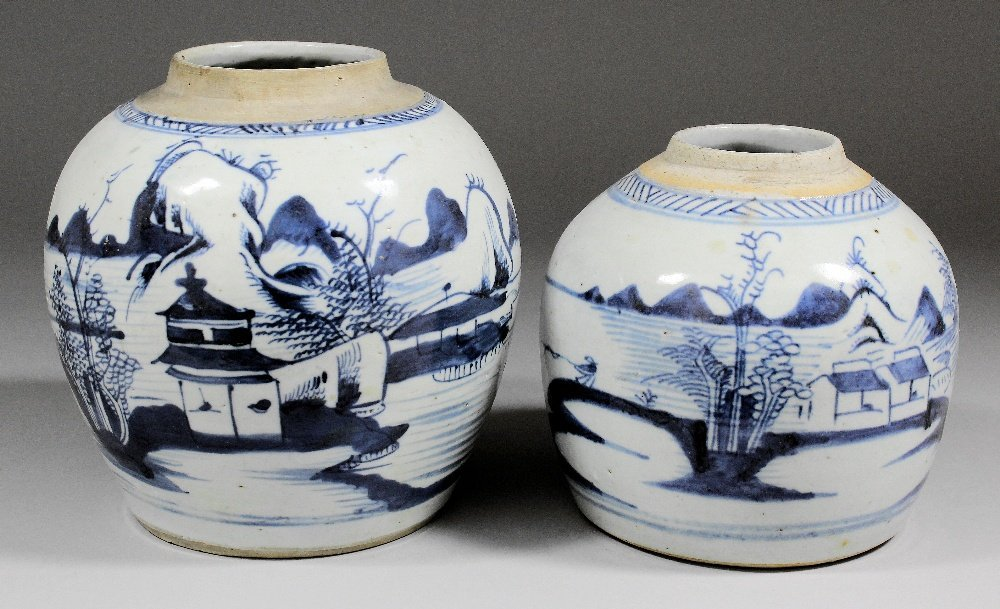 Two Chinese blue and white porcelain bulbous ginger jar