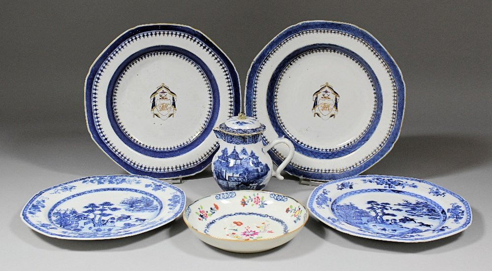 Eight Chinese blue and white porcelain octagonal plates