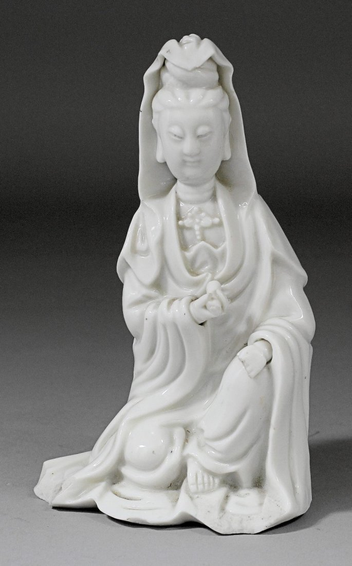 A Chinese blanc-de-chine porcelain figure of Guanyin, 7