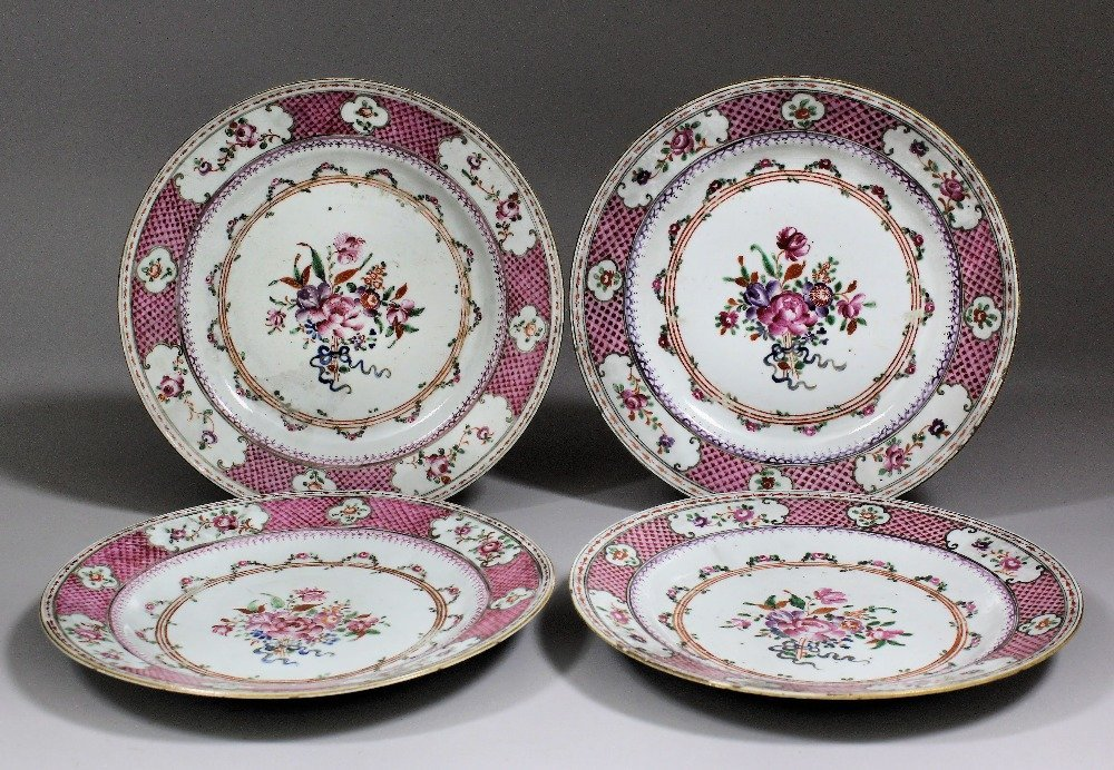 A set of six Chinese export porcelain plates painted in