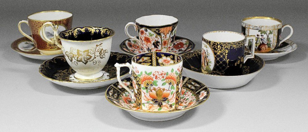An early 19th Century Derby porcelain coffee can and sa