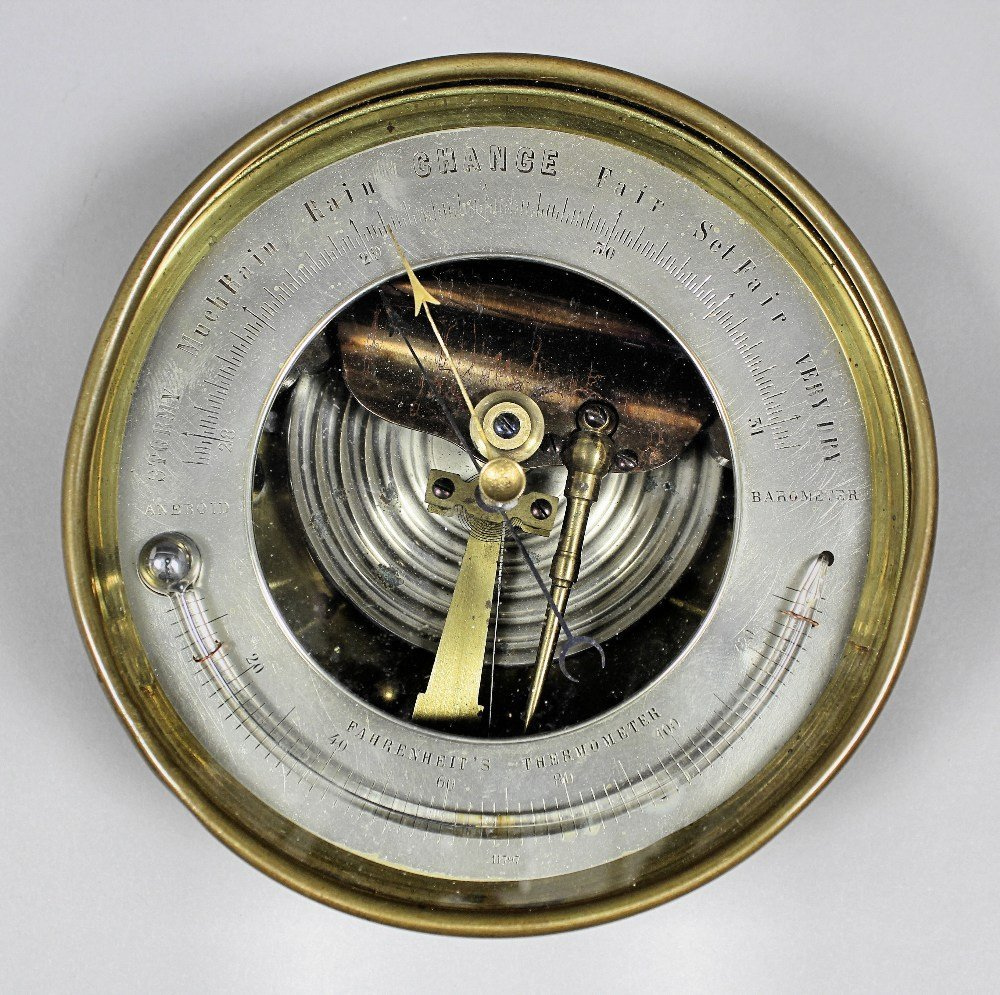 A 19th Century brass cased marine aneroid barometer wit