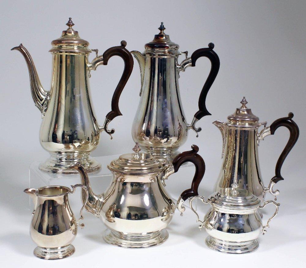 An Elizabeth II silver baluster shaped six piece tea an