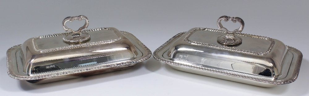 A pair of Elizabeth II silver rectangular entree dishes