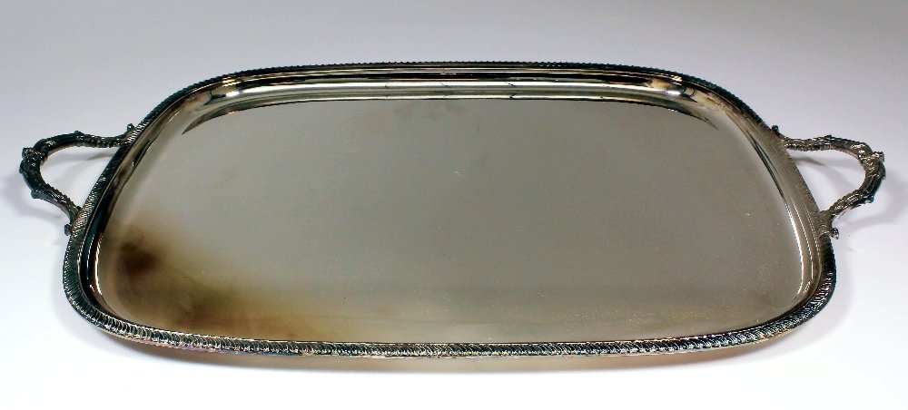 An Elizabeth II silver rectangular two-handled tray wit