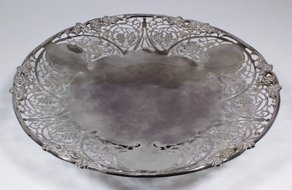 An Elizabeth II silver circular dish, the pierced borde
