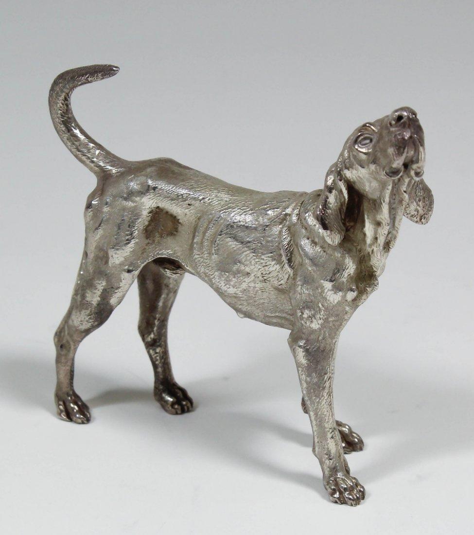 An Elizabeth II cast silver model of a hound, 3.75ins o