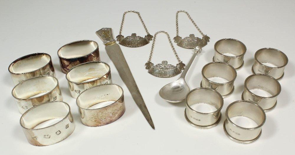 A set of six Elizabeth II silver oval napkin rings, 2.2