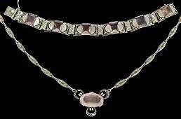 A Theodore Fahrner (1859-1919) silver, rose quartz and