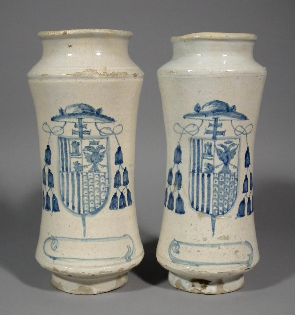 A pair of 18th Century  Spanish pottery albarellos of s