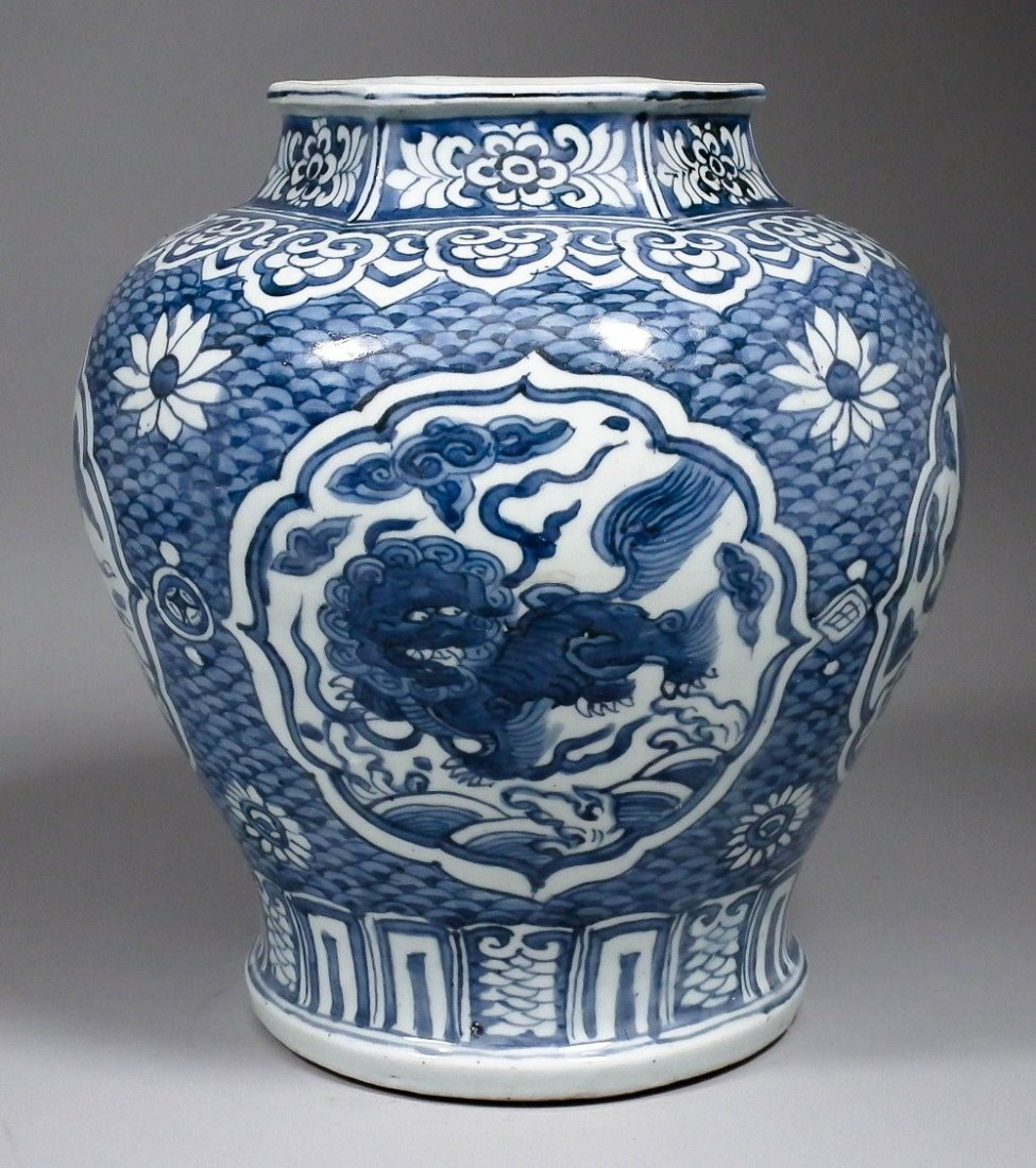 A Chinese blue and white porcelain hexagonal vase paint