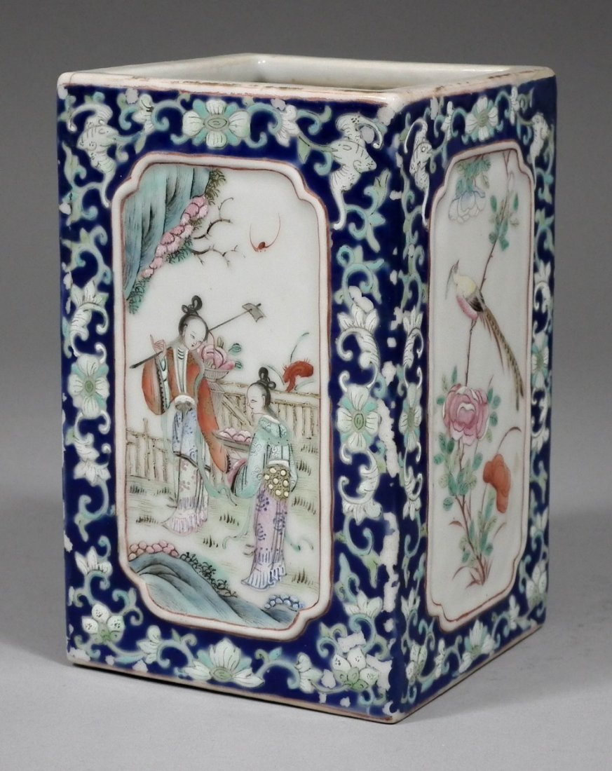 A Chinese porcelain square brush pot enamelled in colou