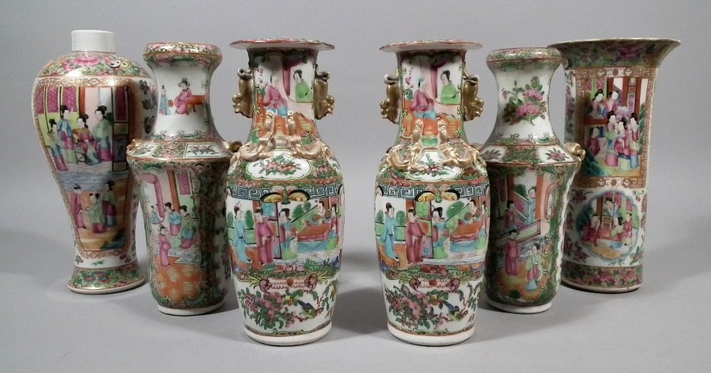 A pair of Chinese Cantonese porcelain two-handled balus