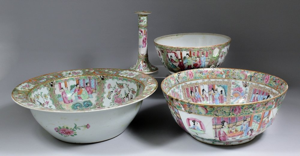 A 19th Century Cantonese porcelain bowl enamelled with