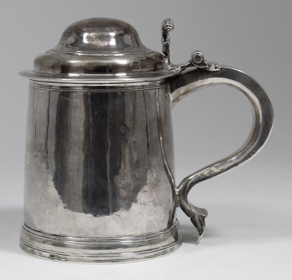 A William & Mary silver lidded tankard with domed lid a