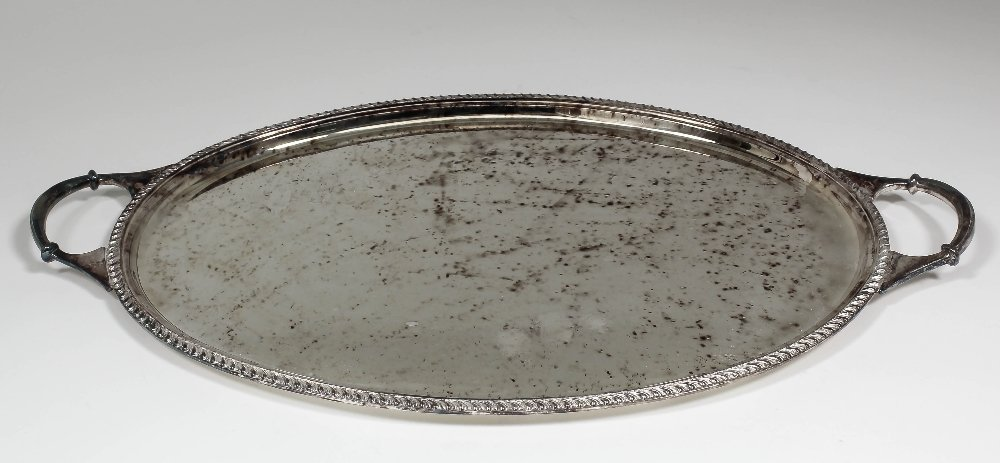 An Elizabeth II silver oval two-handled tray with gadro