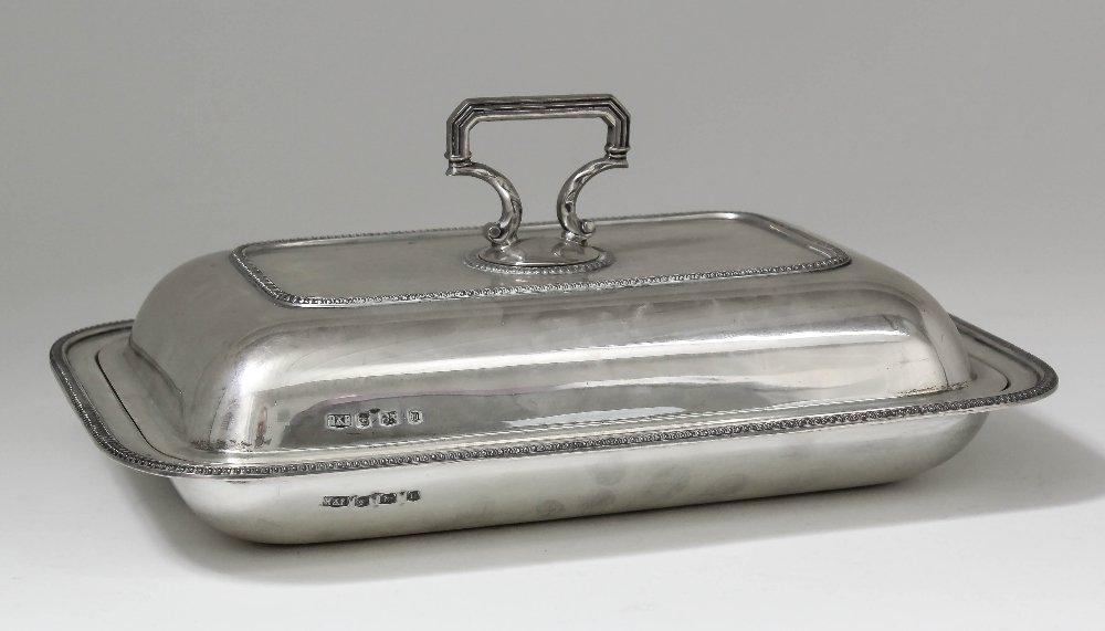 A George V silver rectangular entree dish and cover wit