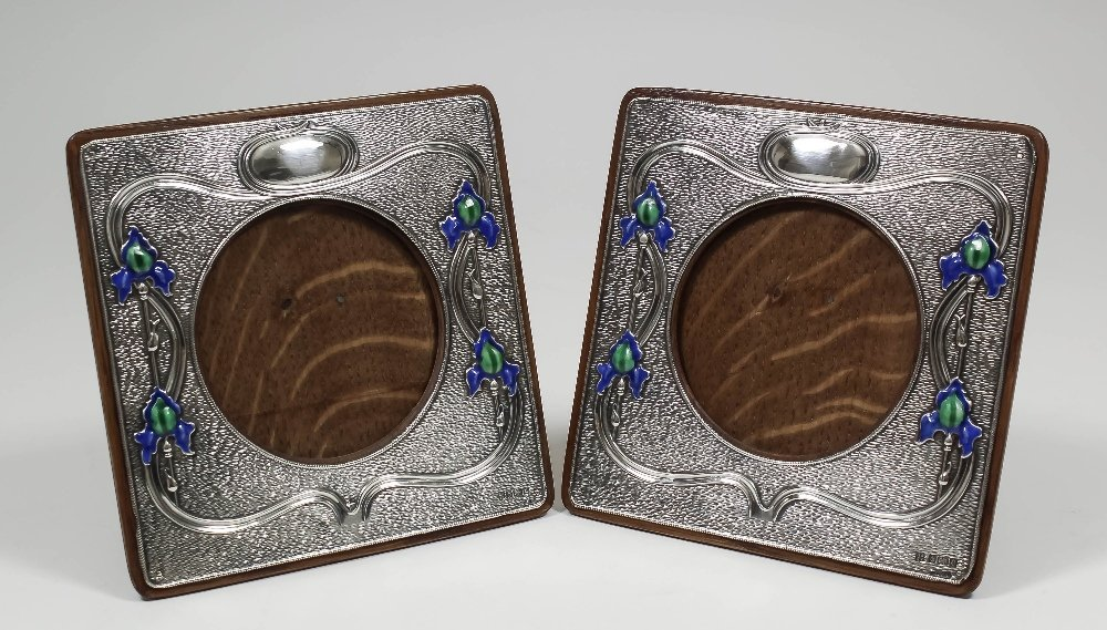 A pair of Edward VII silver and enamelled square photog