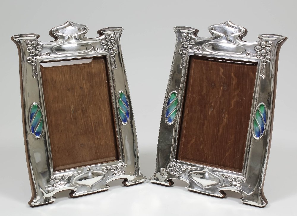 A pair of Edward VII silver and enamelled rectangular p