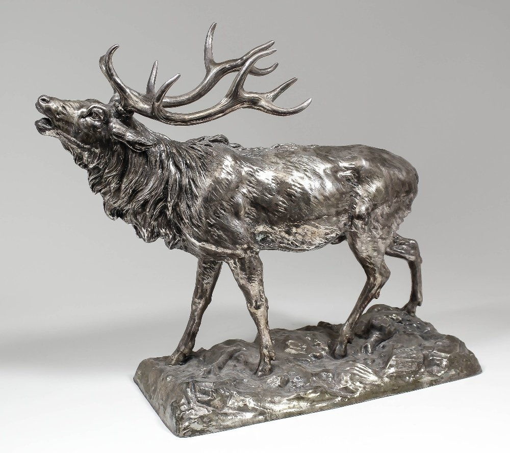 An Elizabeth II silver covered model of a stag, 21ins o