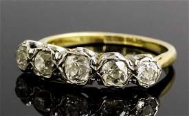 A late Victorian 18ct gold and platinum mounted five st